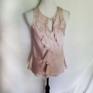 Violet + Claire blush pink silky ruffle career top